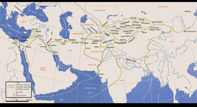 Map of Silk Roads from Penn Museum