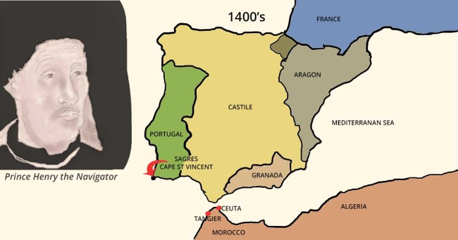 Prince Henry the Navigator and Map of Portugal in the 1400s